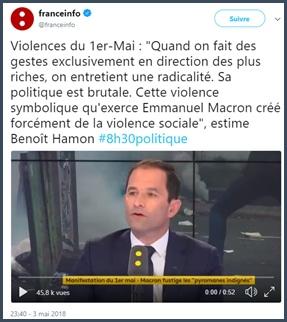 Benoît Hamon - violence sociale - Macron