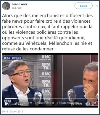 Fake news - Mélenchon - violences - police- Venezuela
