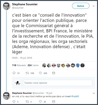 tweet - action publique - BPI France - ministère de la recherche et de l'innovation - PIA - ADEME -