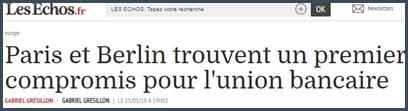 Les Echos - France - Allemagne - Union bancaire - UE