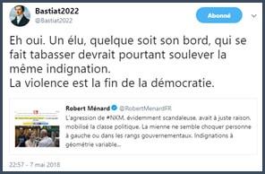 tweet Daniel Tourre La violence est la fin de la démocratie