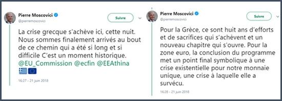 tweets Pierre Moscovici crise grecques banques grecques