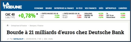 article Tribune bourde 21mds euros deutzche bank