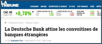 article Tribune Deutsche Bank attise les convoitises de banques étrangères