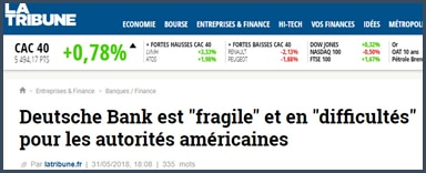 article Tribune Deutsche Bank fragile