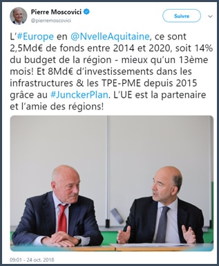 Moscovici - tweet - Europe - région Aquitaine