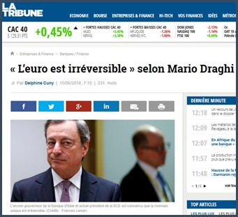 Mario Draghi - La Tribune - euro