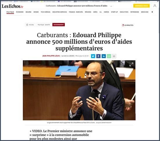Edouard Philippe - aide financière - carburant