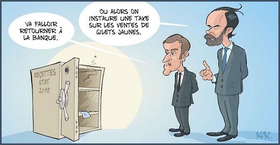 dessin humoristique L'Opinion - argent - Macron - Edouard Philippe