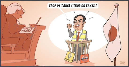 L'Opinion - dessin humoristique - taxes - Carlos Ghosn