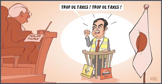 L'Opinion - dessin humoristique - taxes - Carlos Ghosn