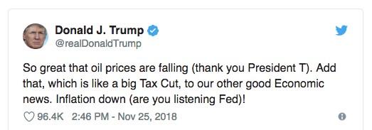 tweet - Trump -chute - prix du pétrole