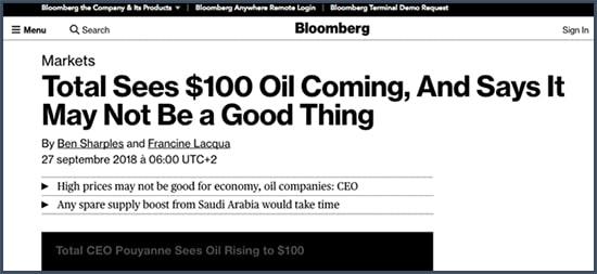 Total - cours - pétrole - 100 dollars
