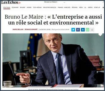 Bruno Le Maire - Les Echos - responsabilité environnementale entreprise