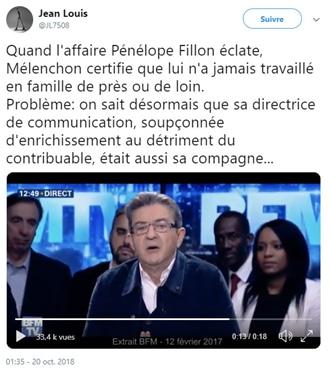 affaire Pénélope Fillon - Mélenchon
