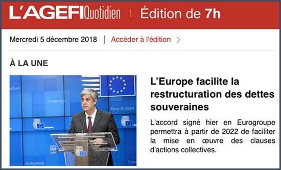 L'Agefi - Europe - dette souveraine