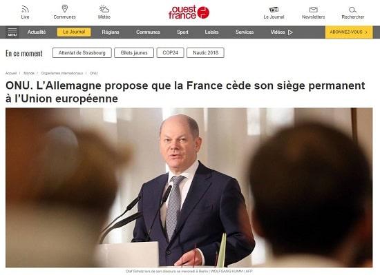 Ouest France - Allemagne - France - UE