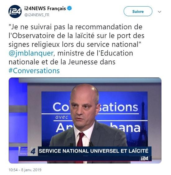 Observatoire de la laïcité - Jean-Michel Blanquer
