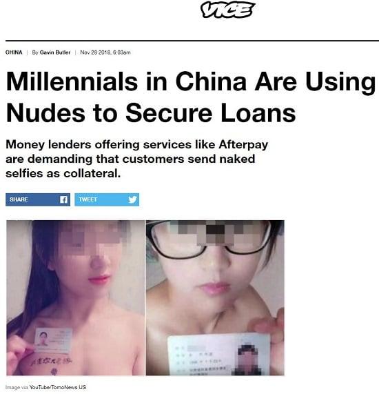 millenials - Chine - photos de nus - prêts -dette