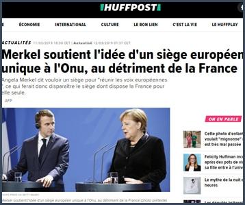 Merkel soutient siège européen ONU