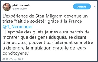 Bechade twitter expérience de Milgram gilets jaunes