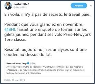 Bastiat2022 réaction twitter à BHL sur gilets jaunes et casseurs