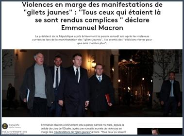 Article franceinfo Macron réagit violences en marge des manifestations gilets jaunes