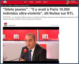 Laurent Nunez réagit violences marge manifestations gilets jaunes