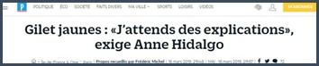Anne Hidalgo attend des explications gilets jaunes