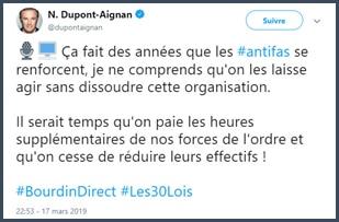 Dupont Aignan réaction twitter antifas