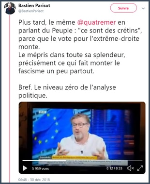 Bastien Parisot tweet sur Jean Quatremer