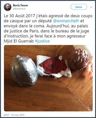 Boris Faure tweet aggressé le 30 août 2017 au bureau de juge d'instruction face à Mjid El Guerrab