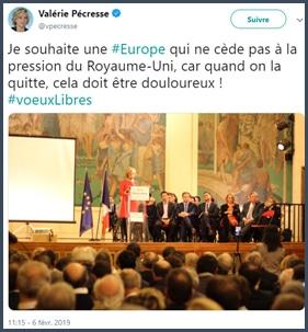 Valérie Pécresse souhaite une Europe qui ne cède pas à la pression du Royaume-Uni