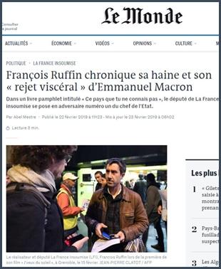 François Ruffin chronique sa haine et son rejet viscéral d'Emmanuel Macron