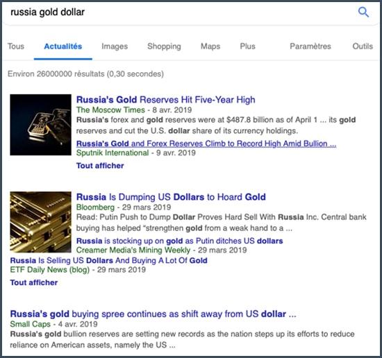 russia gold dollar résultats de recherche actualité
