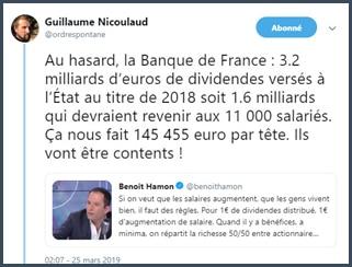 Guillaume Nicolaud banque de francce verse des dividendes à l'Etat