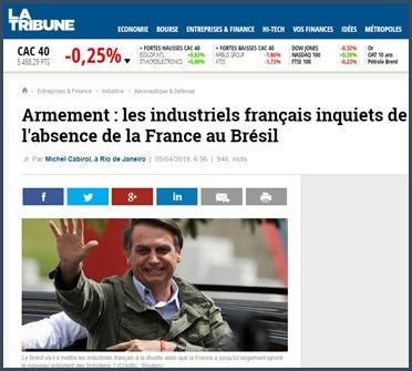 La Tribune armement les industriels français inquiets de l'absence de la France au Brésil