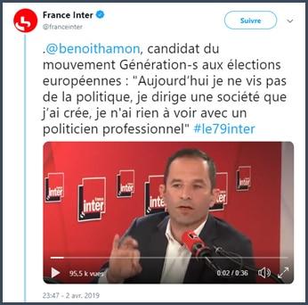 France Inter benoît ne vit pas de la politique aujourd'hui