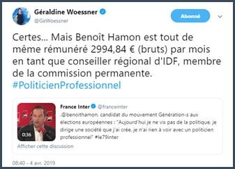 Géraldine Woessner Benoit Hamon rémunéré en tant que conseiller régional d'IDF