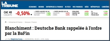Blanchiment Deutsche Bank rappelée à l'ordre