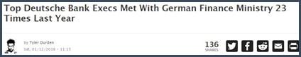 La direction de Deutsche Bank rencontre le ministre des Finances allemands 23 fois l'an dernier