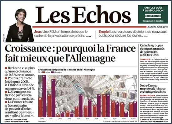 Les Echos croissance pourquoi la France fait mieux que l'Allemagne