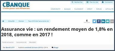 cBanque assurance-vie un rendement moyen de 1,8% en 2018 comme en 2017