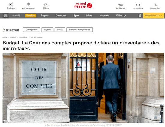 ouest-france la cour des comptes propose un inventaire des micro-taxes