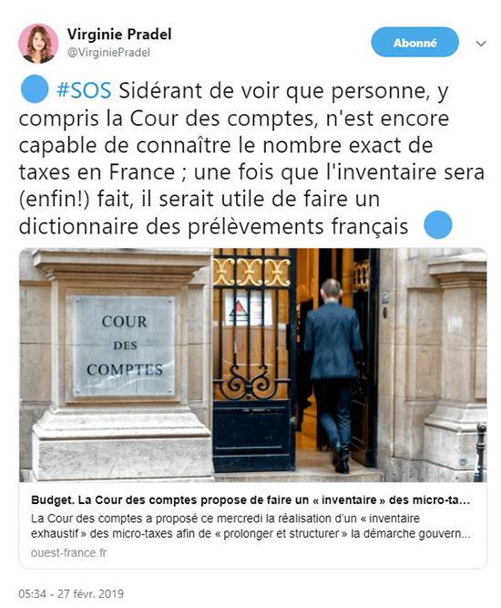 virginie pradel : personne y compris la cour des comptes ne peut connaître le nombre de taxes en France