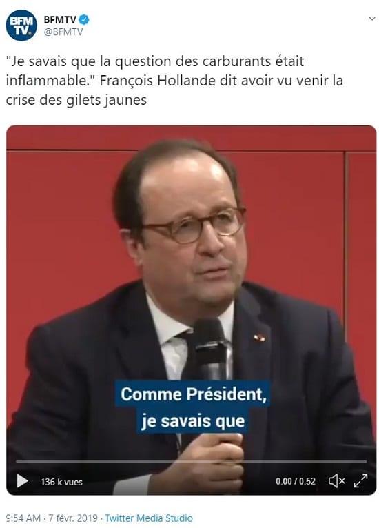 François Hollande je savais que la question des carburants était inflammable