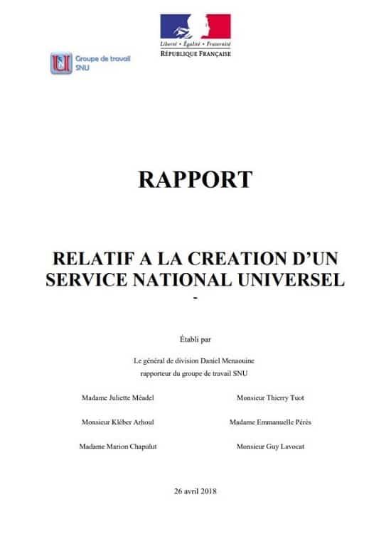 Première page du rapport sur la création du SNU