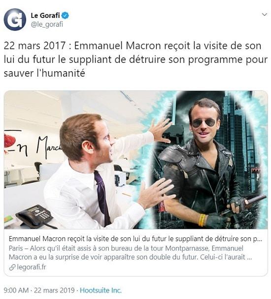 Le Gorafi Macron ressoit la visite de son double du futur
