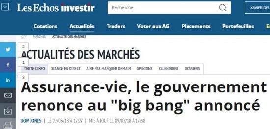 Les Echos assurance-vie le gouvernement renonce au big bang