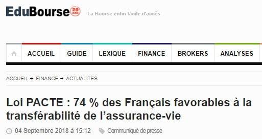 EduBourse 75% des Français favorables à la transférabilité de l'assurance-vie